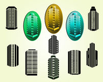 Icone delle costruzioni di vettore messe Immagine Stock