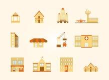 Icone delle costruzioni impostate Fotografia Stock