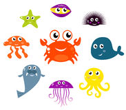 Icone delle creature e degli animali del mare. Fotografia Stock Libera da Diritti