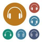 Icone delle cuffie impostate Immagine Stock
