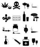 Icone delle droghe messe illustrazione di stock