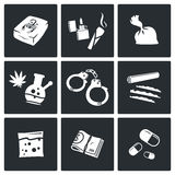 Icone delle droghe messe royalty illustrazione gratis