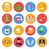 Icone delle droghe messe Fotografie Stock