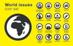 Icone delle edizioni del mondo messe Problemi di sostenibilità illustrazione vettoriale