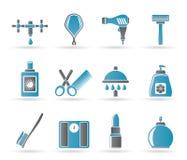 Icone delle estetiche e di cura personale Fotografie Stock Libere da Diritti