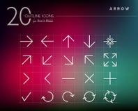 Icone delle frecce di stile del profilo messe Fotografia Stock Libera da Diritti