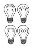 Icone delle lampadine Fotografia Stock Libera da Diritti