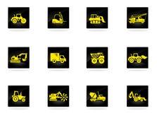Icone delle macchine della costruzione e del trasporto Fotografie Stock Libere da Diritti