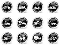 Icone delle macchine della costruzione e del trasporto Fotografia Stock