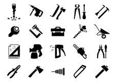 Icone delle macchine utensili e della mano Fotografie Stock