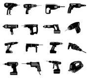 Icone delle macchine utensili messe illustrazione vettoriale