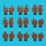Icone delle mani di gesto di Multitouch messe Fotografie Stock