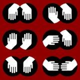 Icone delle mani umane di vari gesti Fotografia Stock Libera da Diritti