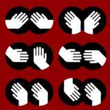 Icone delle mani umane di vari gesti Fotografia Stock