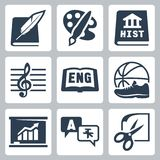 Icone delle materie d'insegnamento di vettore messe: letteratura, arte, storia, musica, inglese, PE, economia, lingue straniere, m Immagine Stock