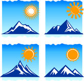 Icone delle montagne Fotografie Stock