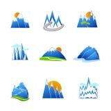 Icone delle montagne messe Fotografia Stock Libera da Diritti