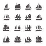 Icone delle navi di navigazione nello stile di glifo illustrazione vettoriale