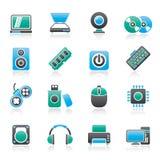 Icone delle parti e dei dispositivi del computer Fotografie Stock Libere da Diritti