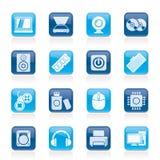 Icone delle parti e dei dispositivi del computer Immagini Stock
