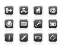 Icone delle parti e di servizi dell'automobile Fotografia Stock