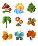 Icone delle piante e degli animali Fotografia Stock Libera da Diritti
