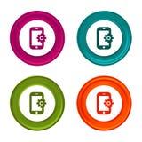 Icone delle regolazioni di Smartphone Segni del telefono Simbolo di sostegno Bottone variopinto di web con l'icona illustrazione di stock