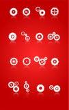 Icone delle ruote del dente e degli ingranaggi messe Fotografia Stock Libera da Diritti