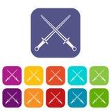 Icone delle spade messe royalty illustrazione gratis