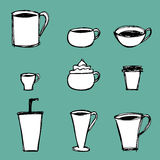 Icone delle tazze di caffè Immagine Stock