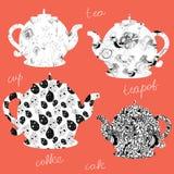 Icone delle teiere con i reticoli floreali Fotografie Stock