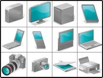 Icone delle unità e del calcolatore per la struttura Fotografia Stock