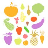 Icone delle verdure e della frutta Fotografia Stock Libera da Diritti