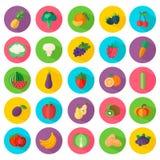 Icone delle verdure e della frutta nello stile piano Fotografie Stock Libere da Diritti