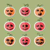 Icone delle verdure e della frutta Zucca per Halloween Vect piano Immagine Stock Libera da Diritti