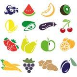 Icone delle verdure e delle frutta Illustrazione di Stock