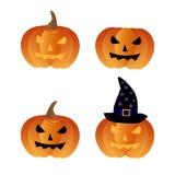 Icone delle zucche di Halloween Fotografie Stock