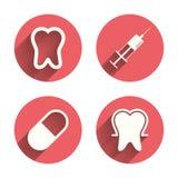 Icone dello smalto dentario Siringa e pillola mediche Fotografia Stock