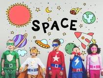Icone dello spazio cosmico che disegnano concetto dei grafici Fotografia Stock Libera da Diritti