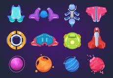 Icone dello spazio del fumetto Razzi aerospaziali e missili del UFO dei pianeti stranieri delle astronavi Elementi fantastici del illustrazione vettoriale