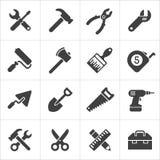 Icone dello strumento e dell'attrezzo bianche Vettore Immagine Stock Libera da Diritti