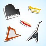 Icone dello strumento musicale Fotografia Stock Libera da Diritti