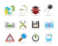 Icone dello sviluppatore, di programmazione e di applicazione Fotografia Stock