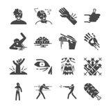Icone dello zombie messe illustrazione di stock