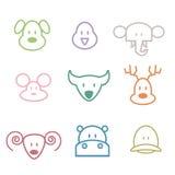 Icone dello zoo degli animali Immagine Stock