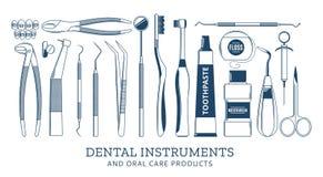 Icone dentarie dello strumento Fotografia Stock