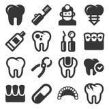 Icone dentarie messe su fondo bianco Vettore Immagini Stock Libere da Diritti