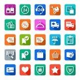 Icone, deposito online, affare, acquisto, colorato con ombra illustrazione di stock