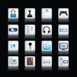 Icone dettagliate di intrattenimento sul nero illustrazione di stock