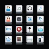 Icone dettagliate di musica sul nero Fotografie Stock Libere da Diritti